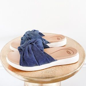 Dr Scholls Willow Denim Knot Slide On Sandals